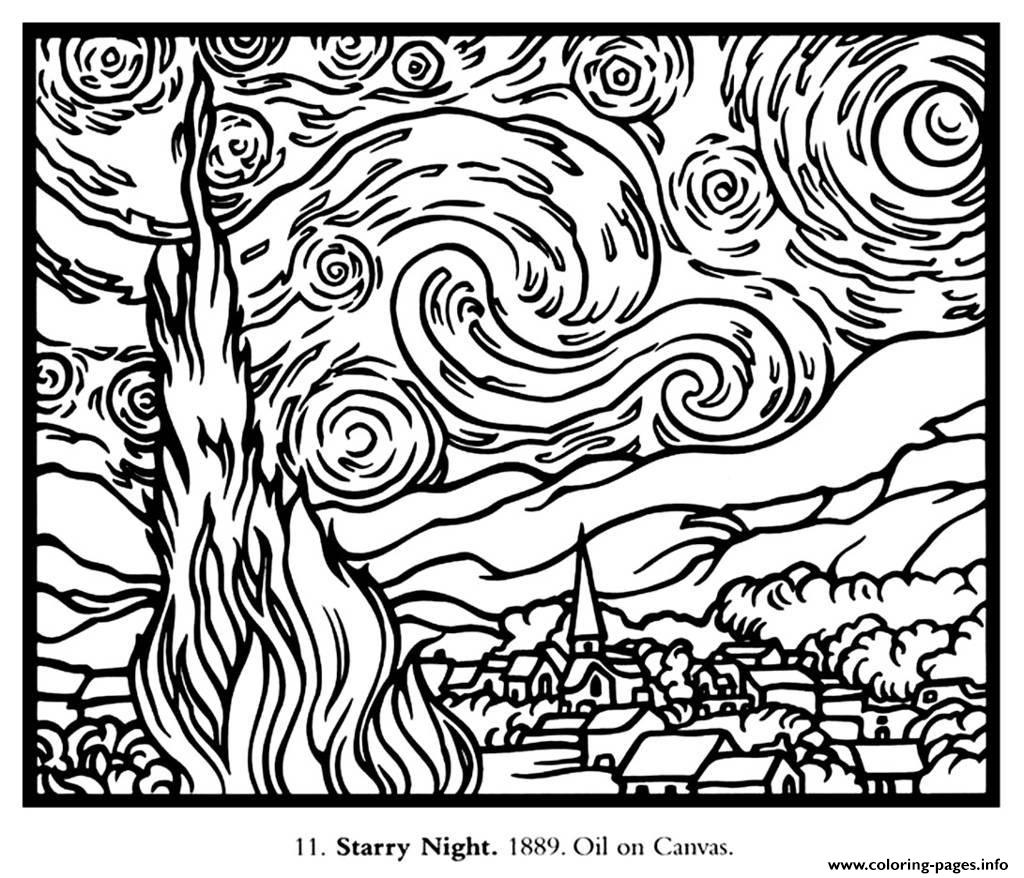 adult van gogh starry night large coloring pages printable