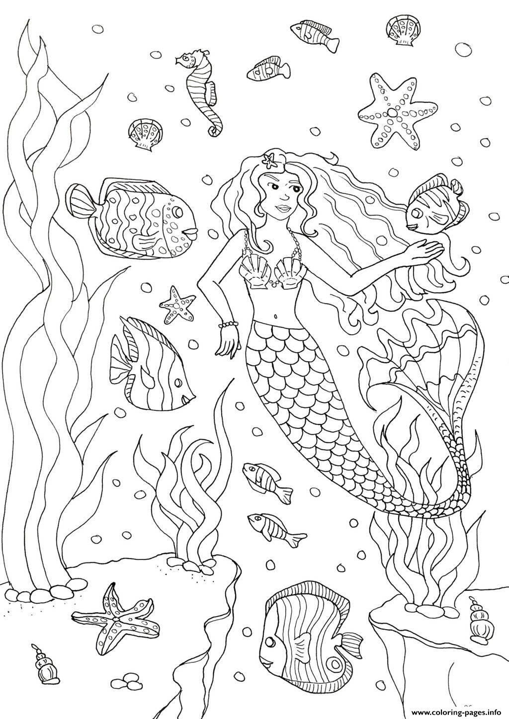 Adult Mermaid And Fishes By Olivier coloring pages