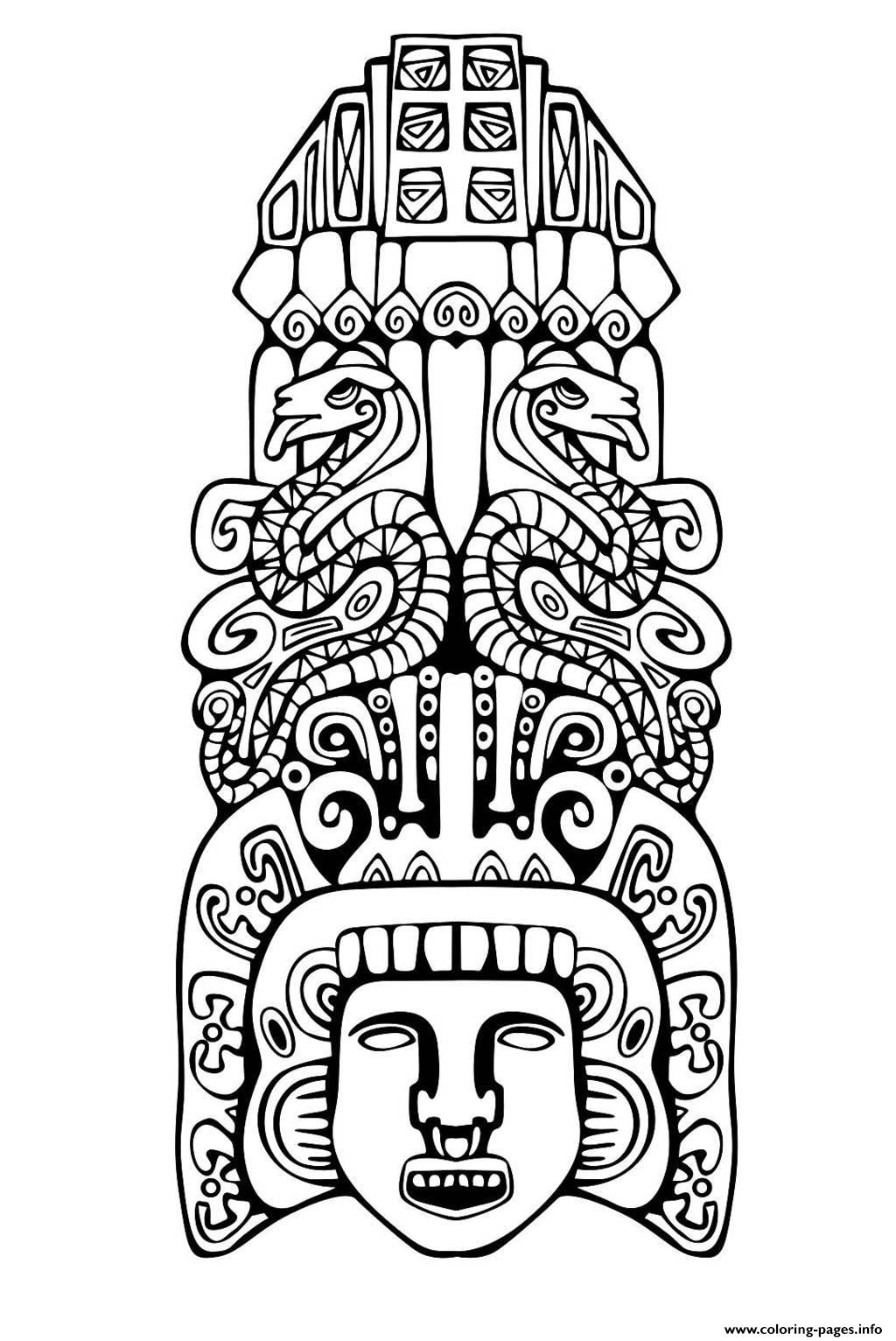 Adult Totem Inspiration Inca Mayan Aztec 2 Coloring Pages Printable