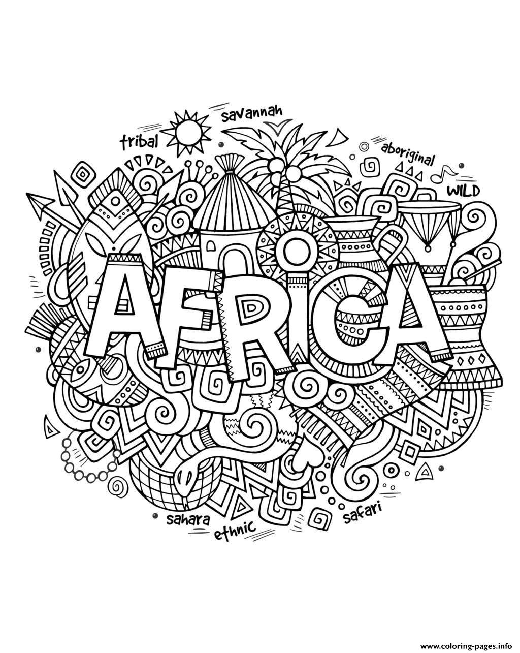 Adult Africa Abstract Symbols coloring pages