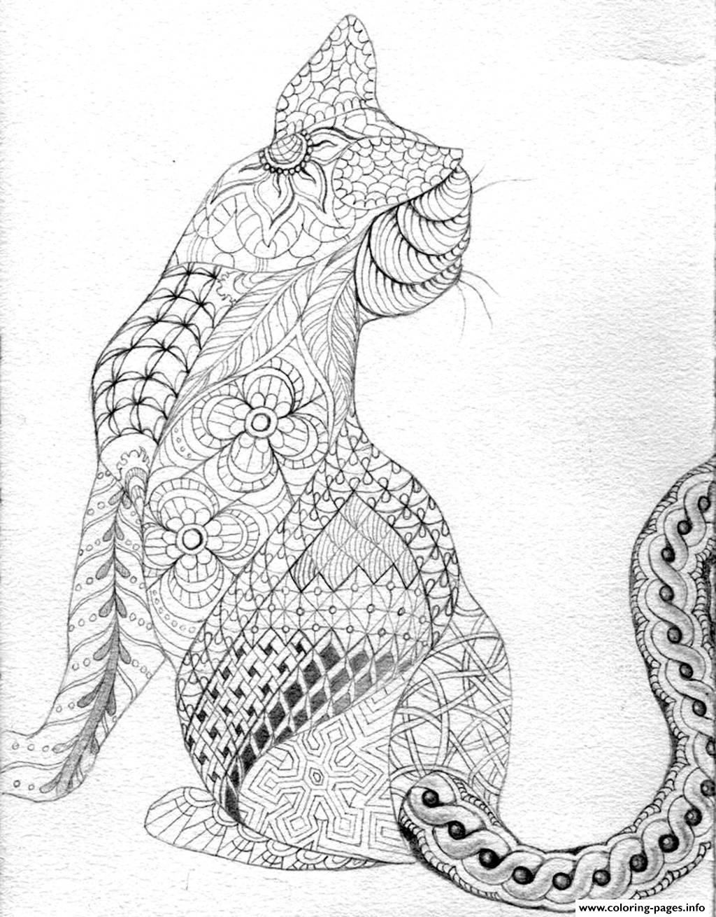 Adult Difficult Cat From Back Coloring Pages Printable