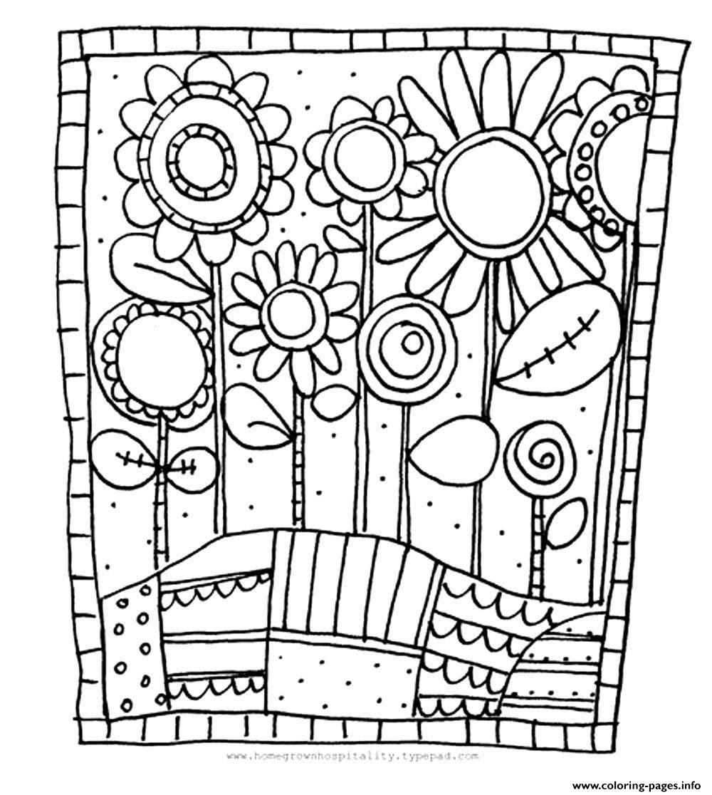 adult simple flowers coloring pages print download