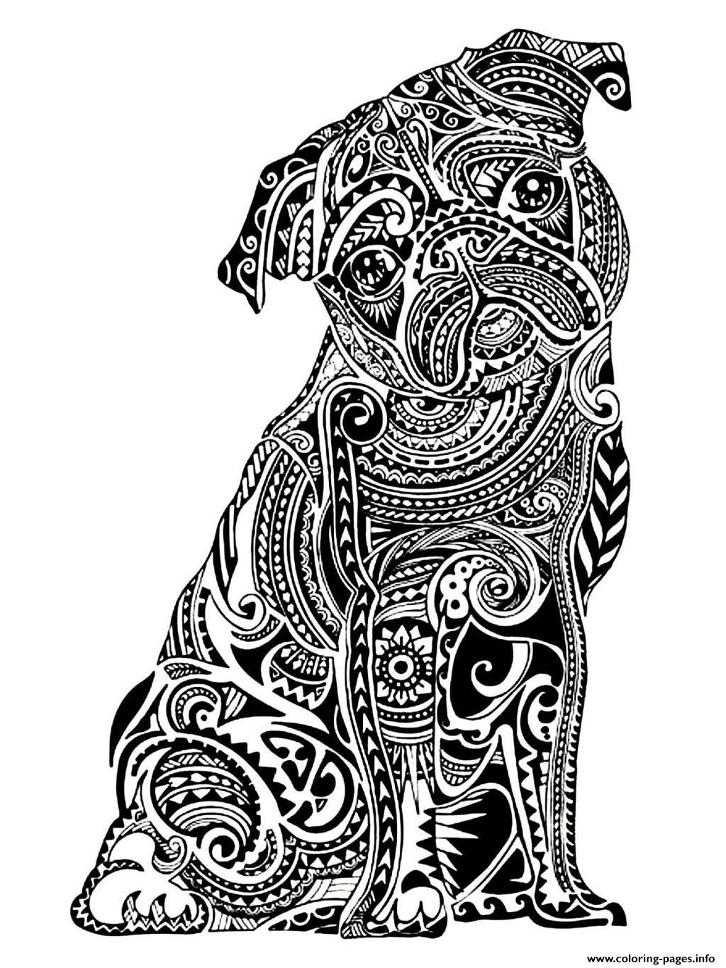 Adult Difficult Little Buldog coloring pages