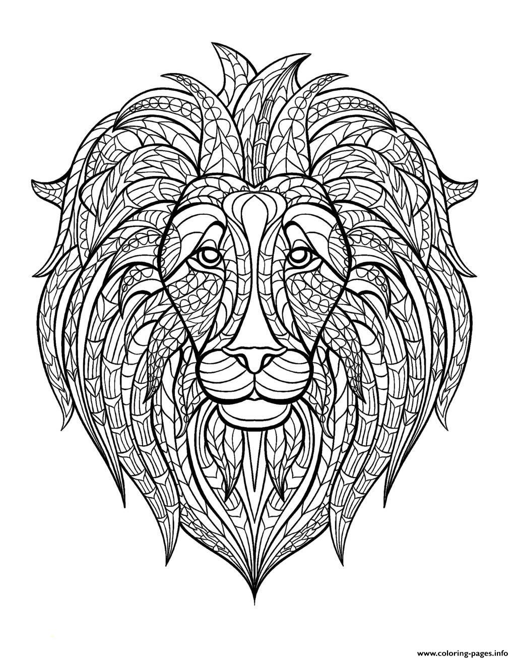 adult lion head Coloring pages Printable