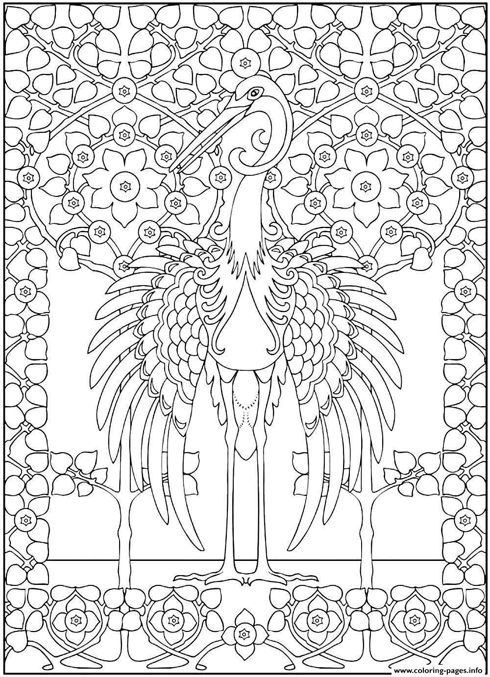 Adult Majestic Heron coloring pages