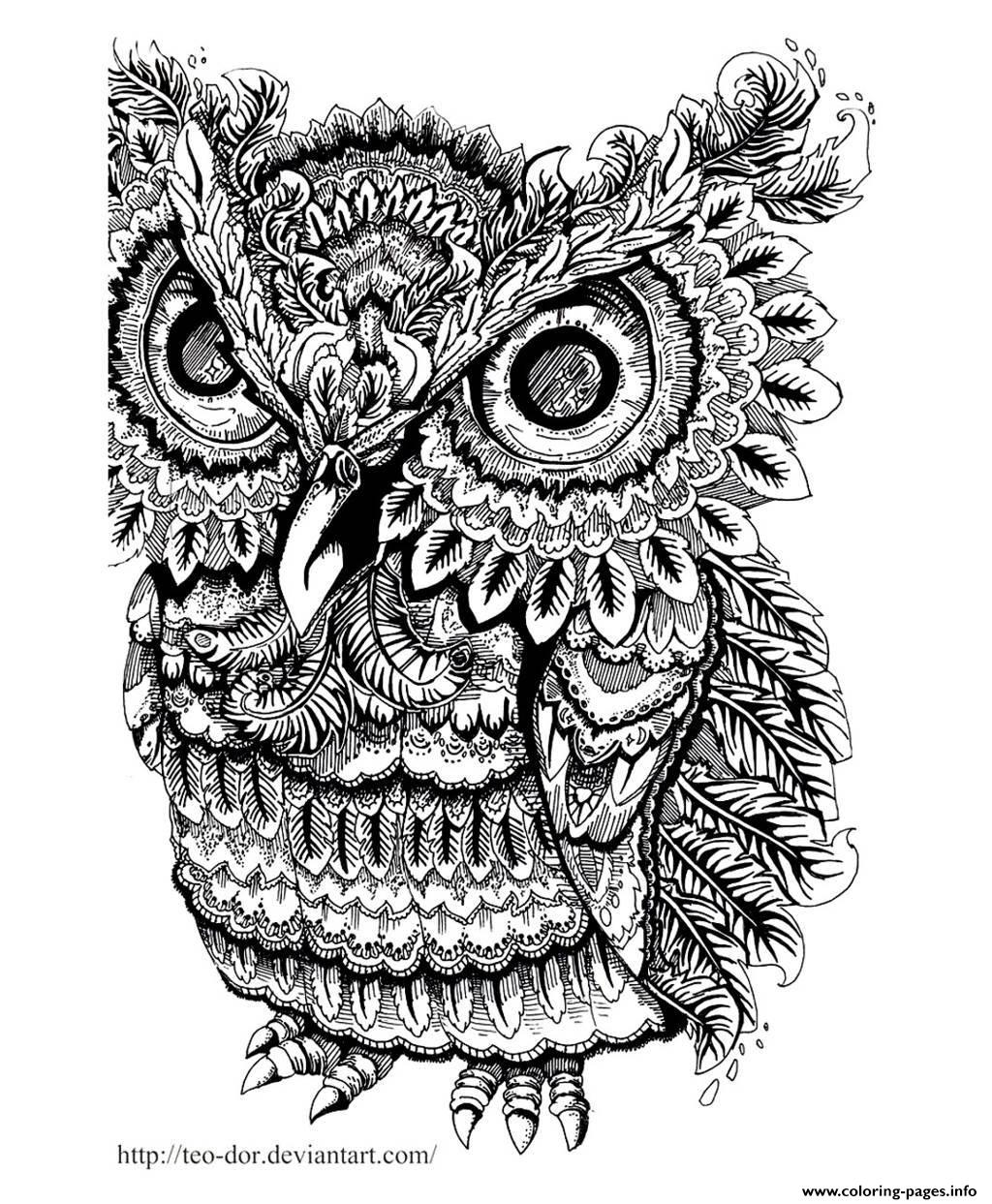 Adult Owl Big Eyes Coloring Pages Printable