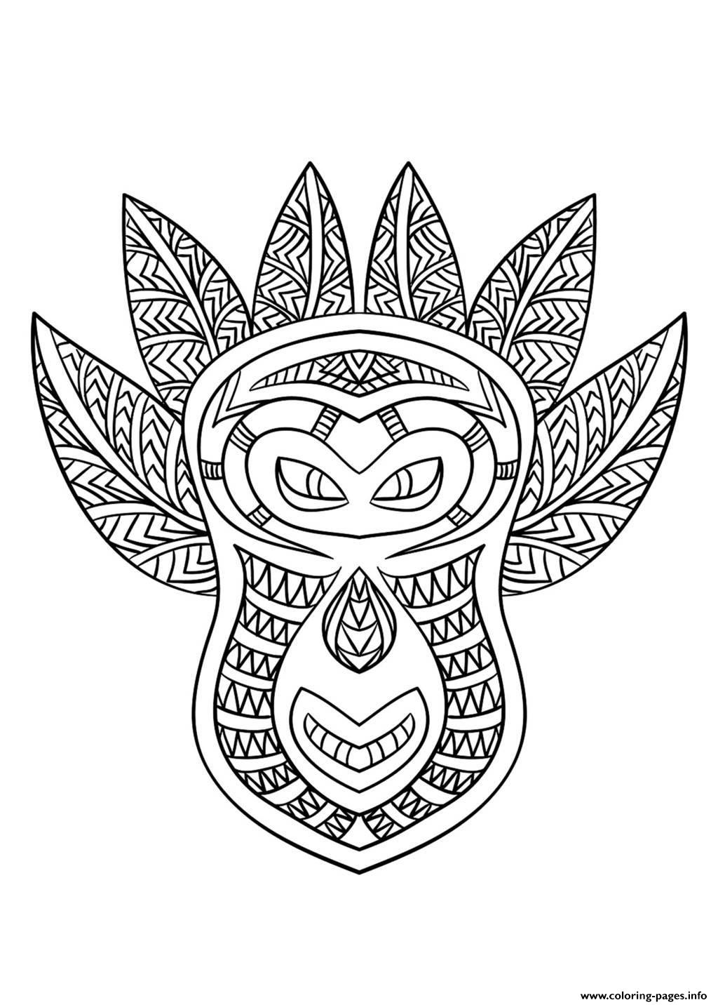 Adult African Mask 6 coloring pages