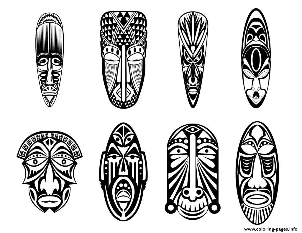 Adult 12 African Masks Coloring Pages Printable