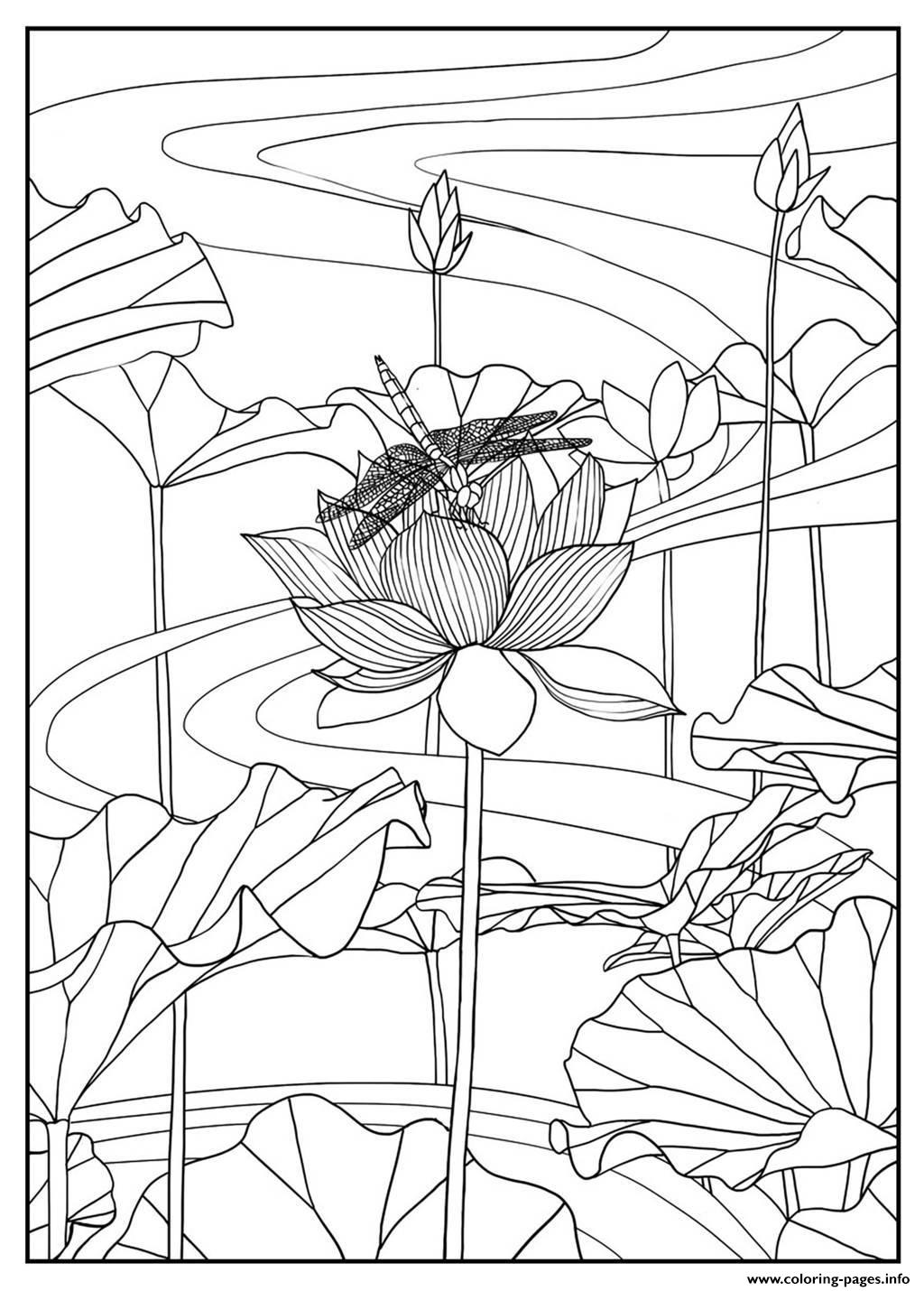 Adult Lotus By Mizu coloring pages