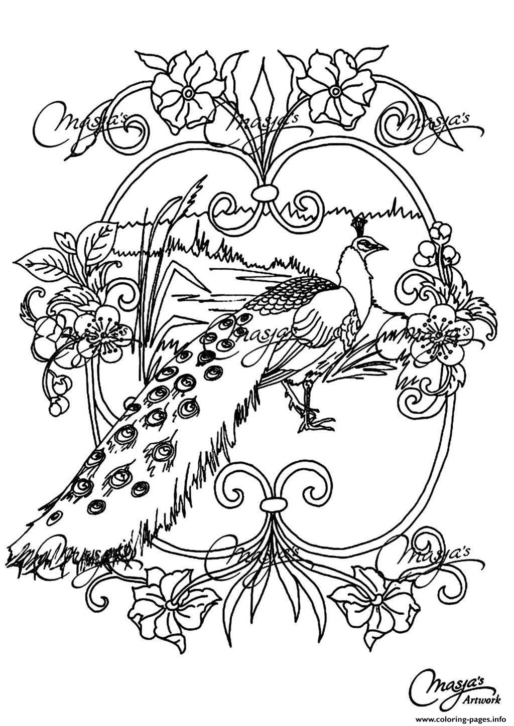Adult Animals Peacock coloring pages