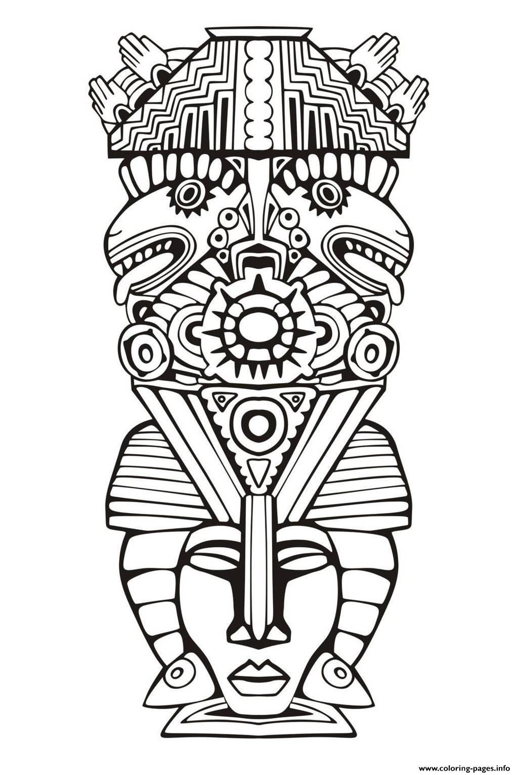 Adult Totem Inspiration Inca Mayan Aztec 6 Coloring Pages Printable