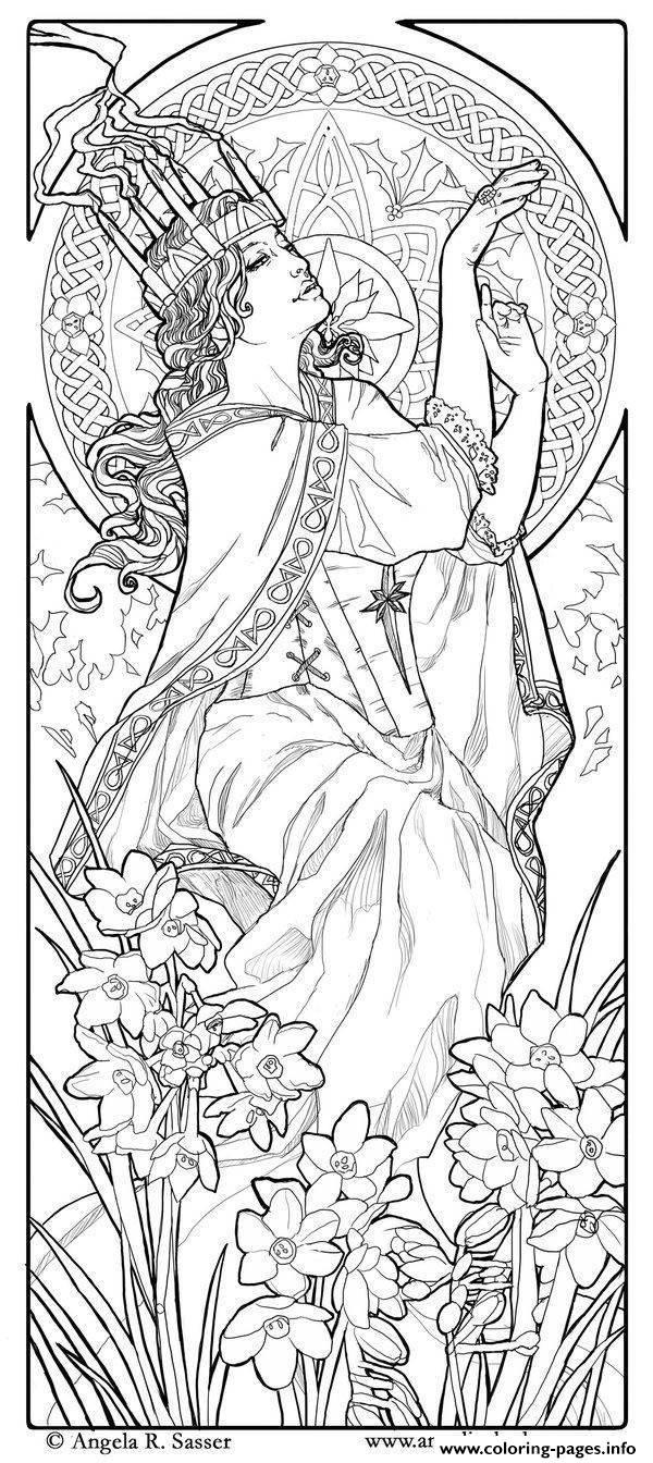 Adult Woman Art Nouveau Style Coloring Pages Printable