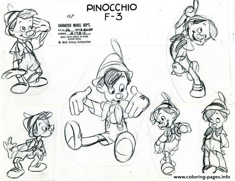 Adult Disney Sketch Pinocchio coloring pages