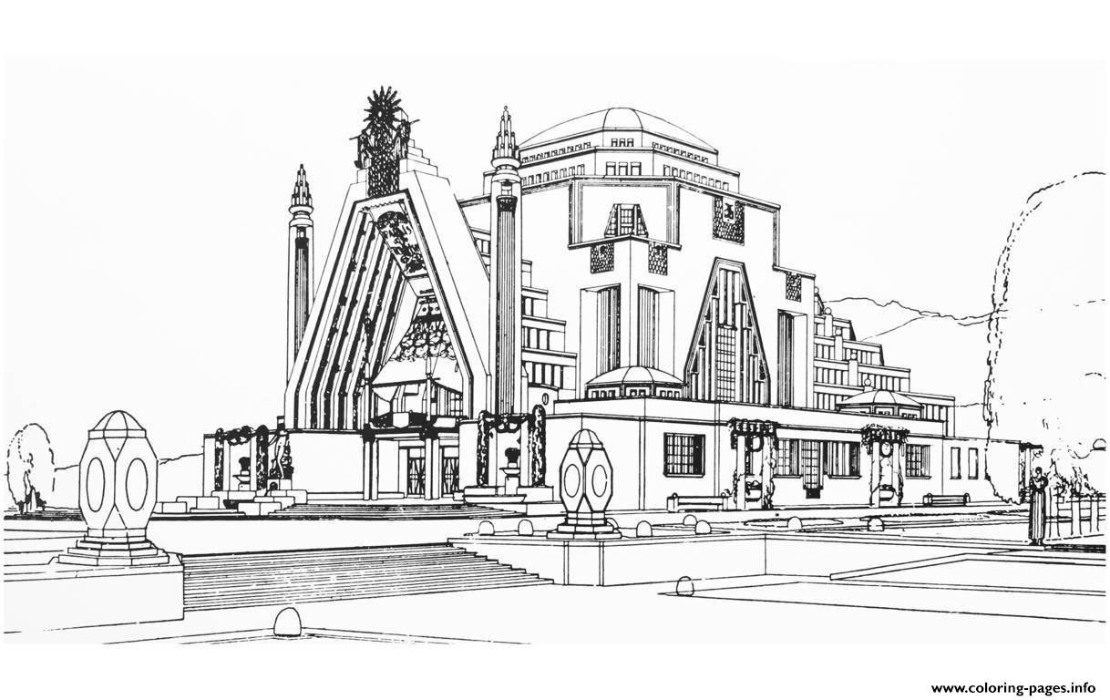 Adult drawing monument art deco france 1925 coloring pages for Art decoration france