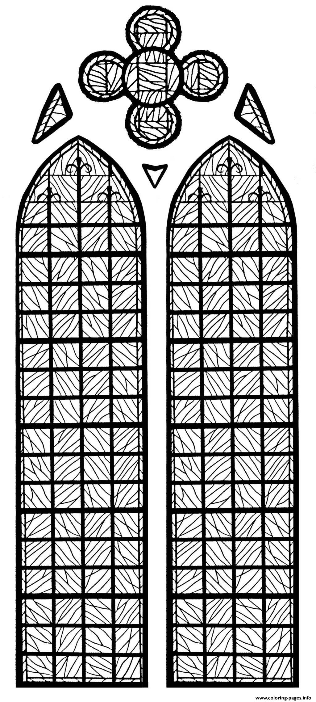 Adult Stained Glass Chapelle Chateau Yverdon Les Bains France coloring pages
