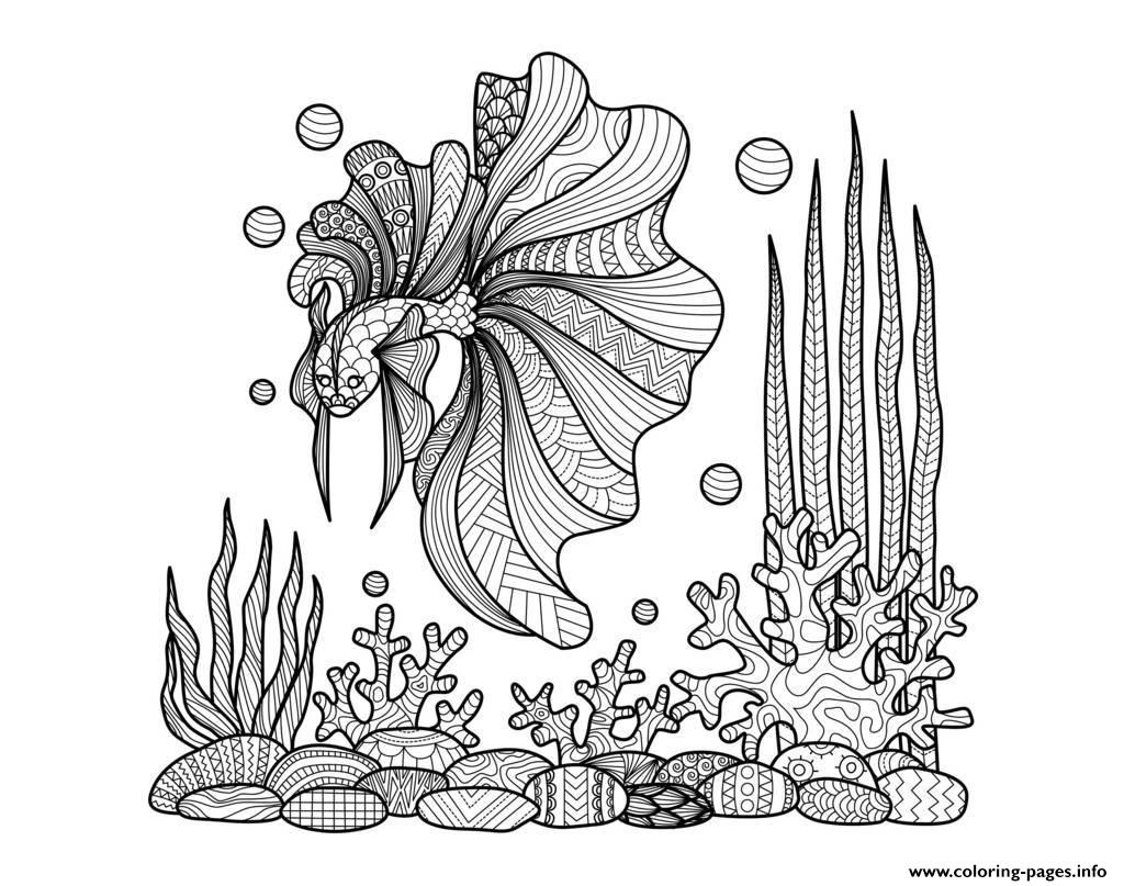 Adult Zentangle Fish On Corals By Bimdeedee coloring pages