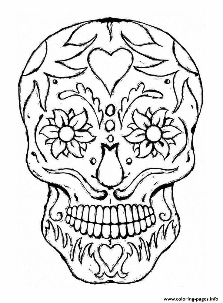 Adulte Tatoo Skull Eyes Flowers coloring pages