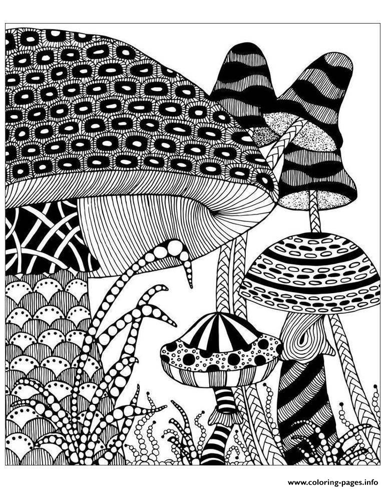 Adult Big Mushrooms Coloring Pages Printable
