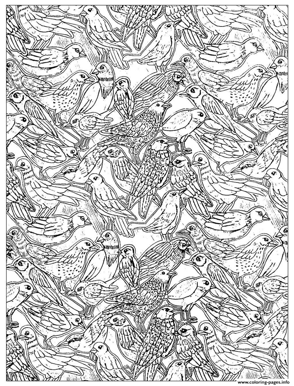 Adult Birds 2 Coloring Pages Printable