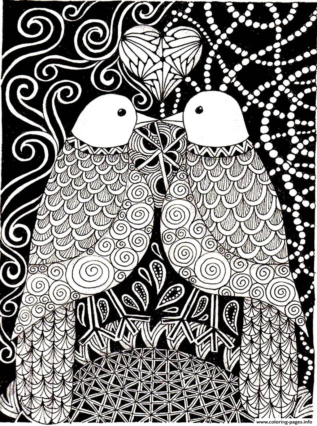 Adult Love Birds coloring pages