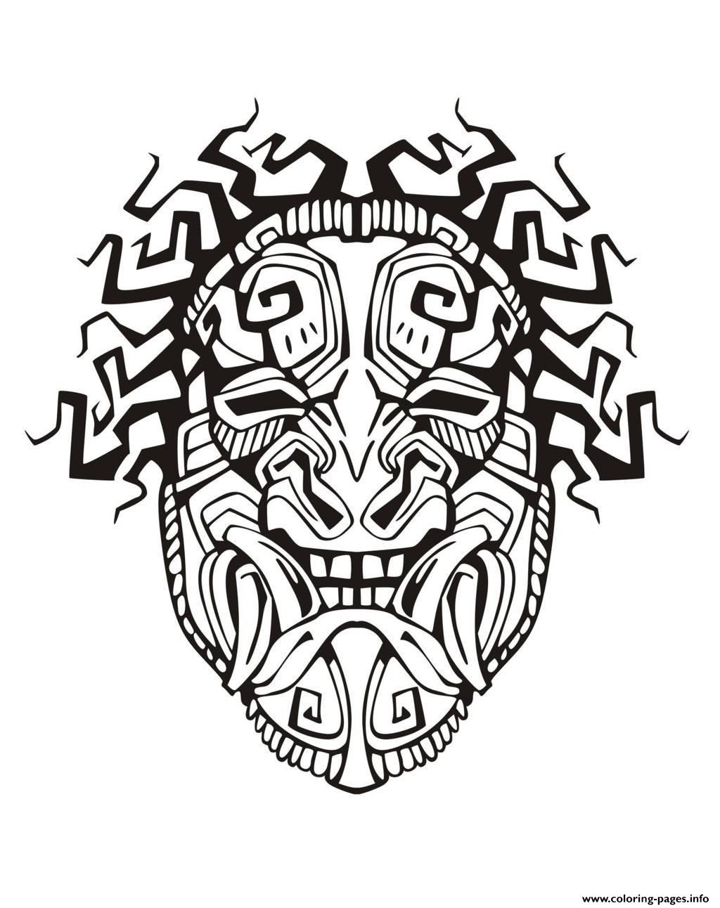 Adult Mask Inspiration Inca Mayan Aztec 1 coloring pages