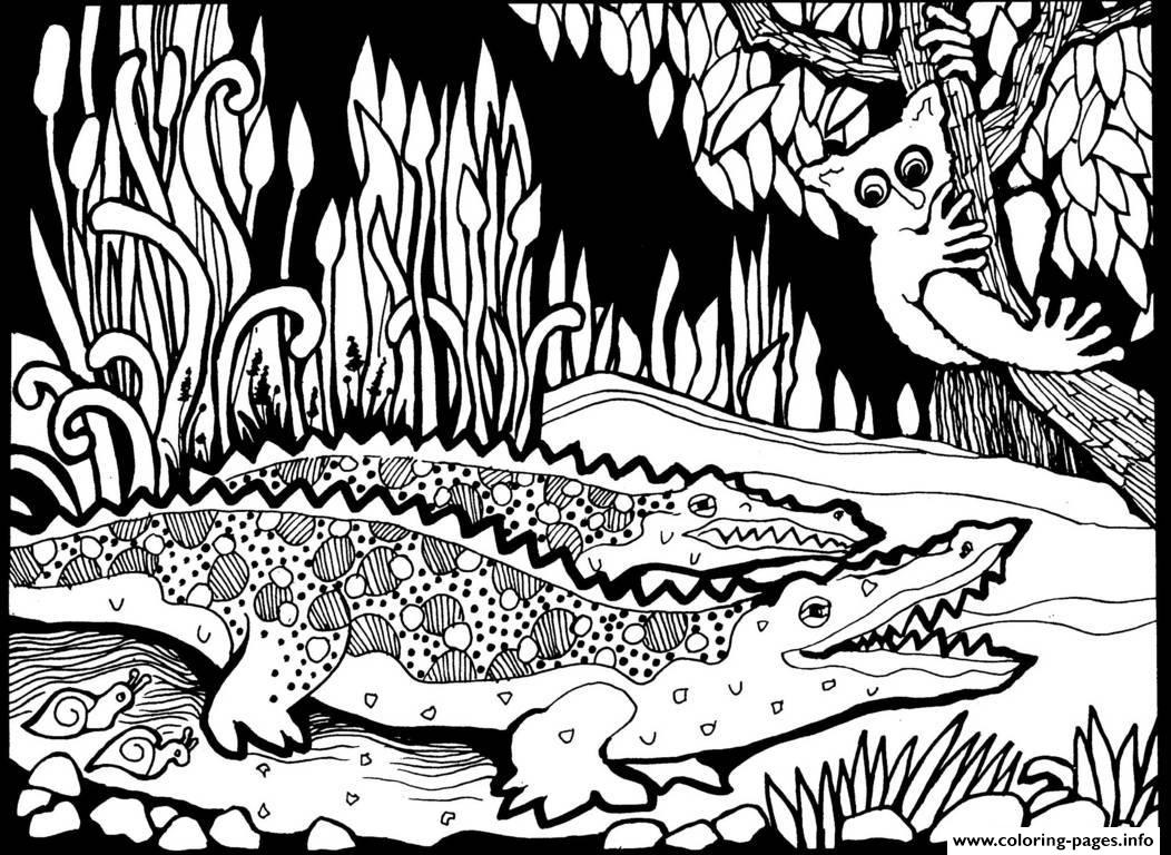 adult africa crocodiles coloring pages printable - Coloring Pages To Print For Adults