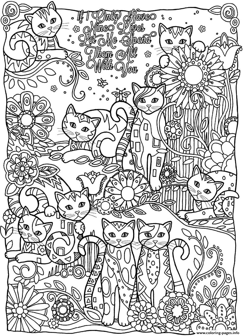 Adult Cats Cutes coloring pages