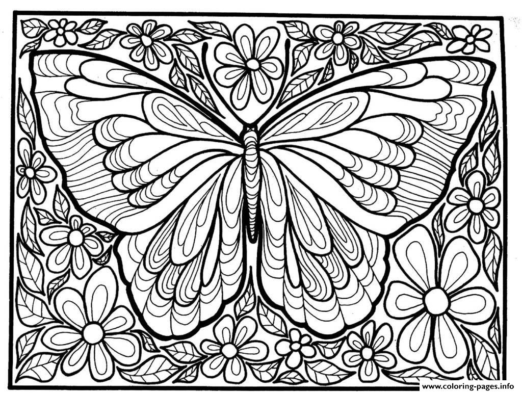 adult difficult big butterfly coloring pages printable