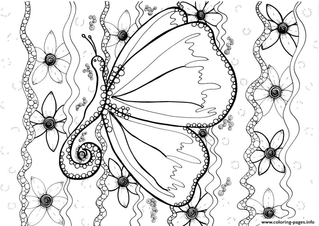 Adult Butterfly By Zenfeerie coloring pages