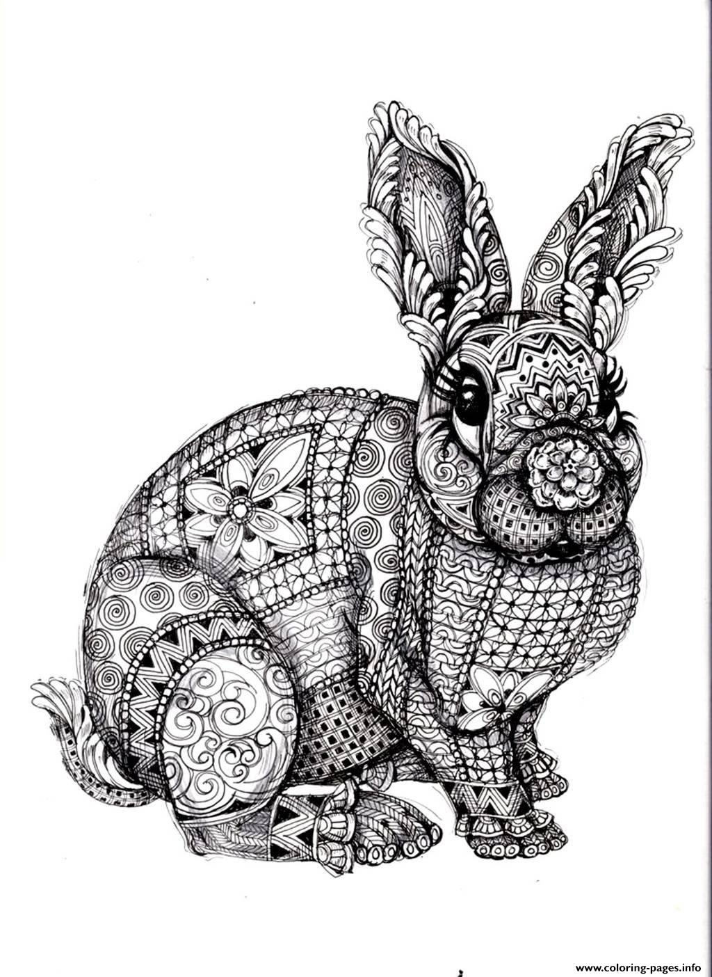 Adult Difficult Rabbit Coloring Pages Printable