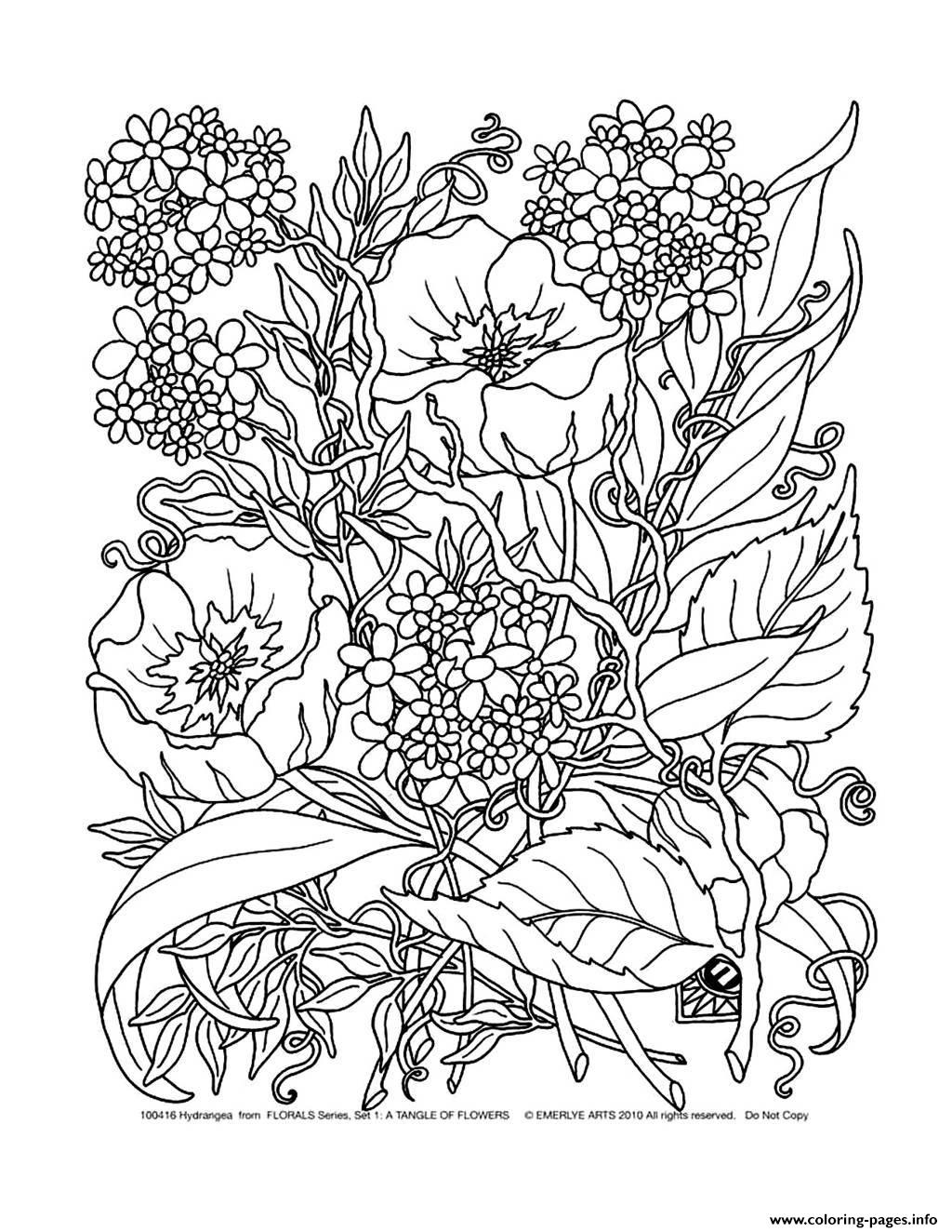 Adult savage flowers coloring pages printable for Flower adult coloring pages