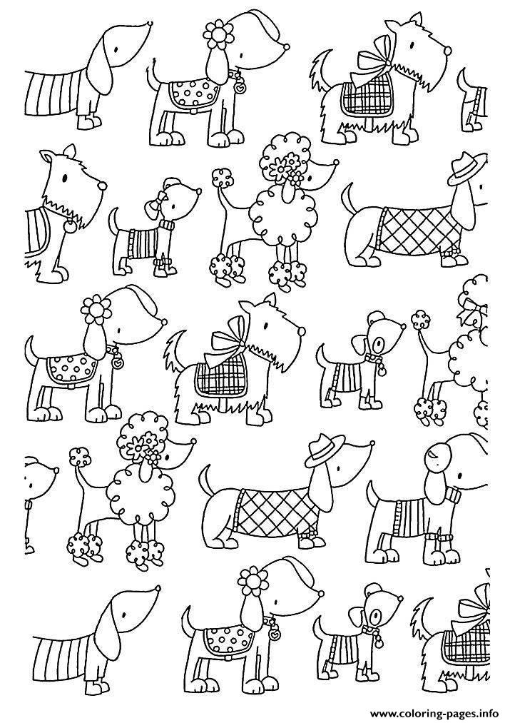 Adult Difficult Dogs Elegants Coloring Pages Printable