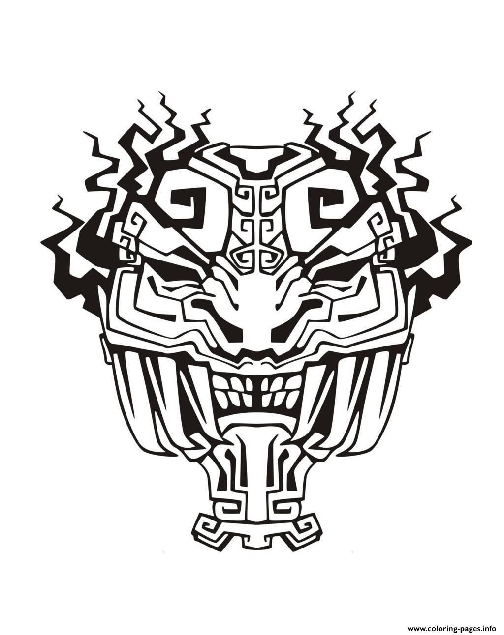 Adult Mask Inspiration Inca Mayan Aztec 4 coloring pages
