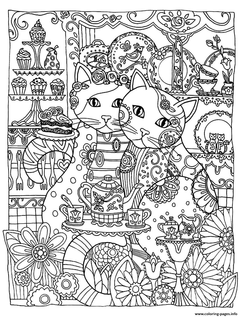 two cute cats coloring pages printable