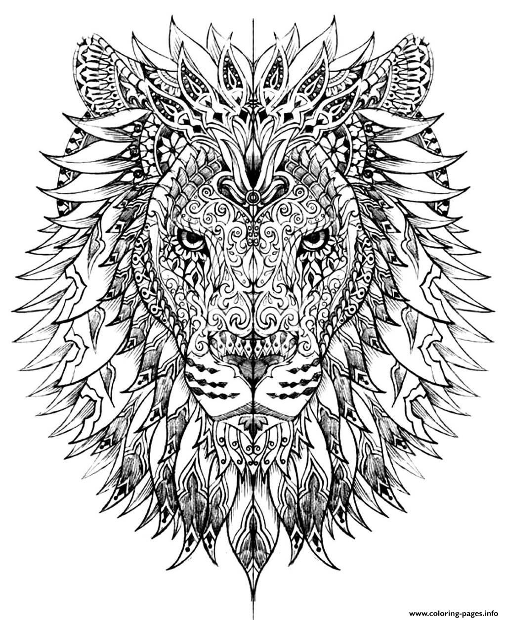 Adult difficult lion head coloring pages printable for Hard printable coloring pages
