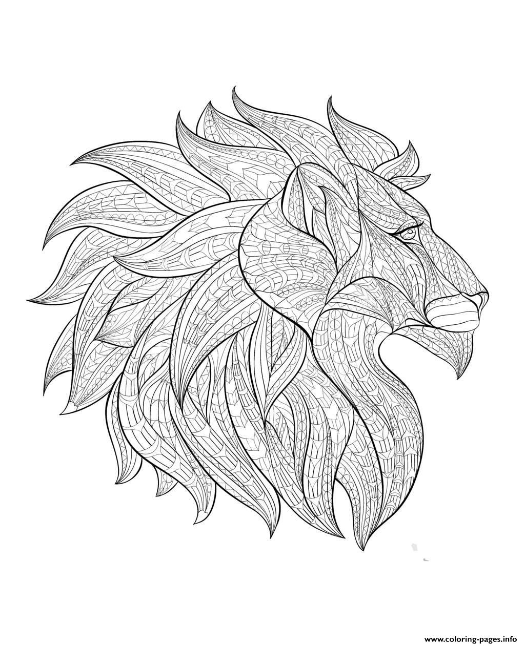 Adult Lion Head Profile Coloring Pages Printable
