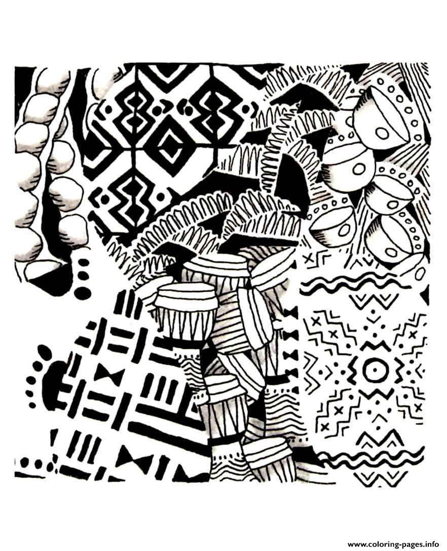 Adult Africa Symbols Coloring Pages Printable