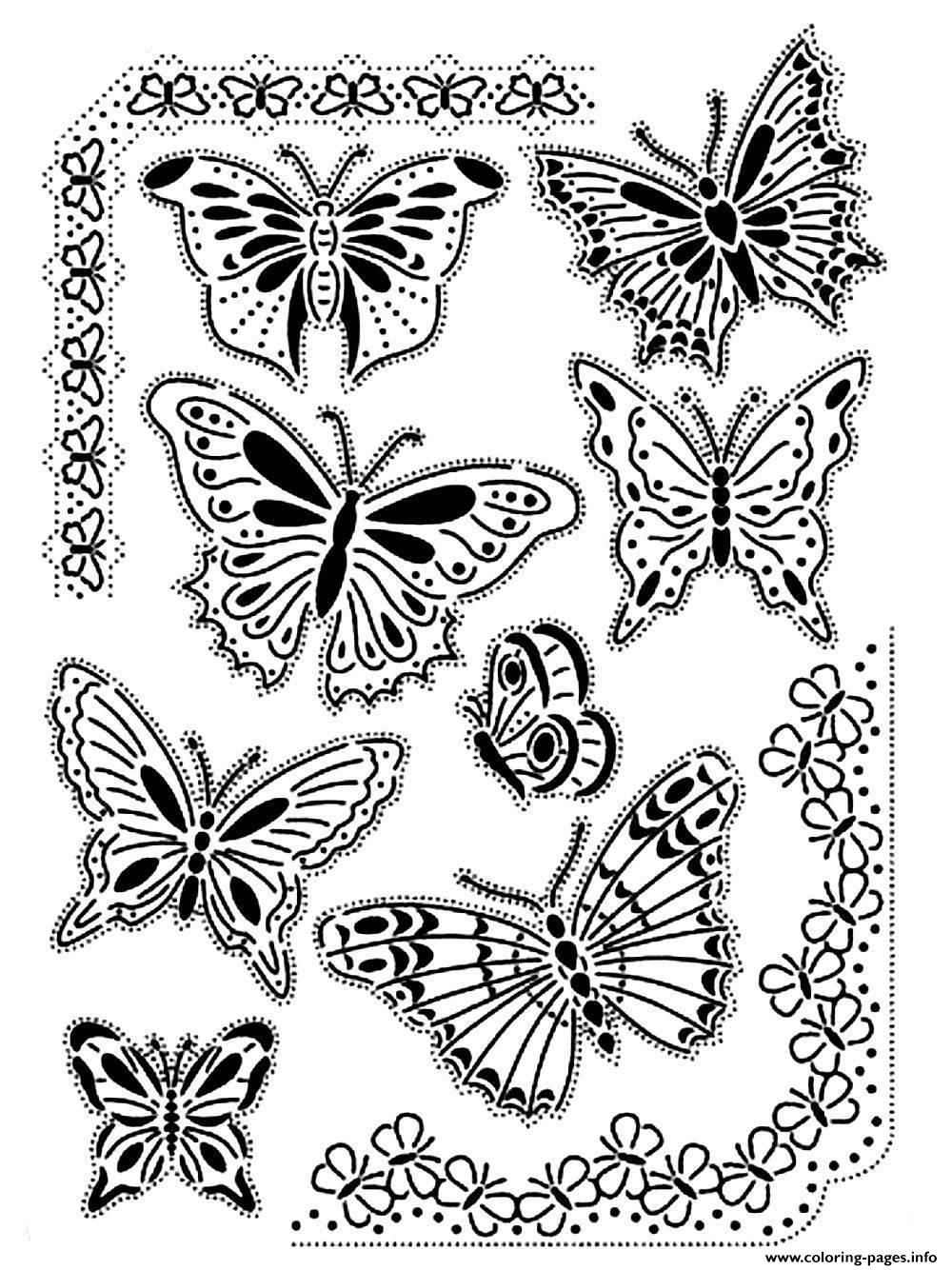 difficult butterflies vintage coloring pages printable