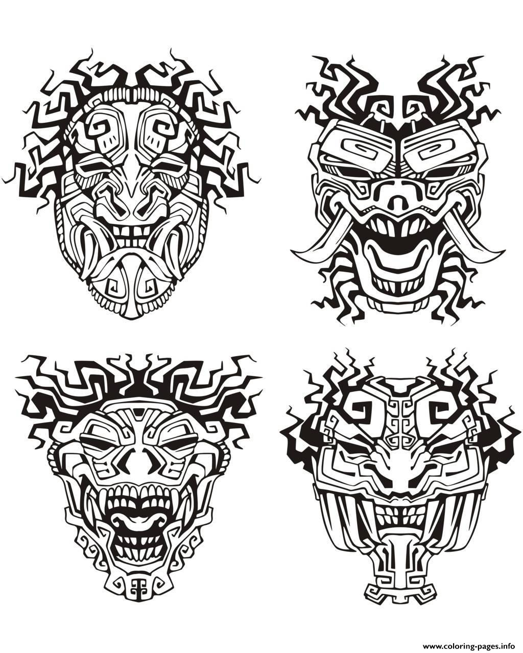 Adult Mask Inspiration Inca Mayan Aztec Coloring Pages
