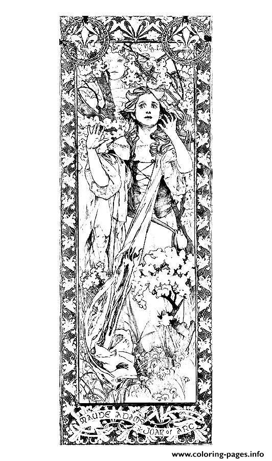 Adult Maude Adams Jeanne D Arc Alfons Mucha coloring pages