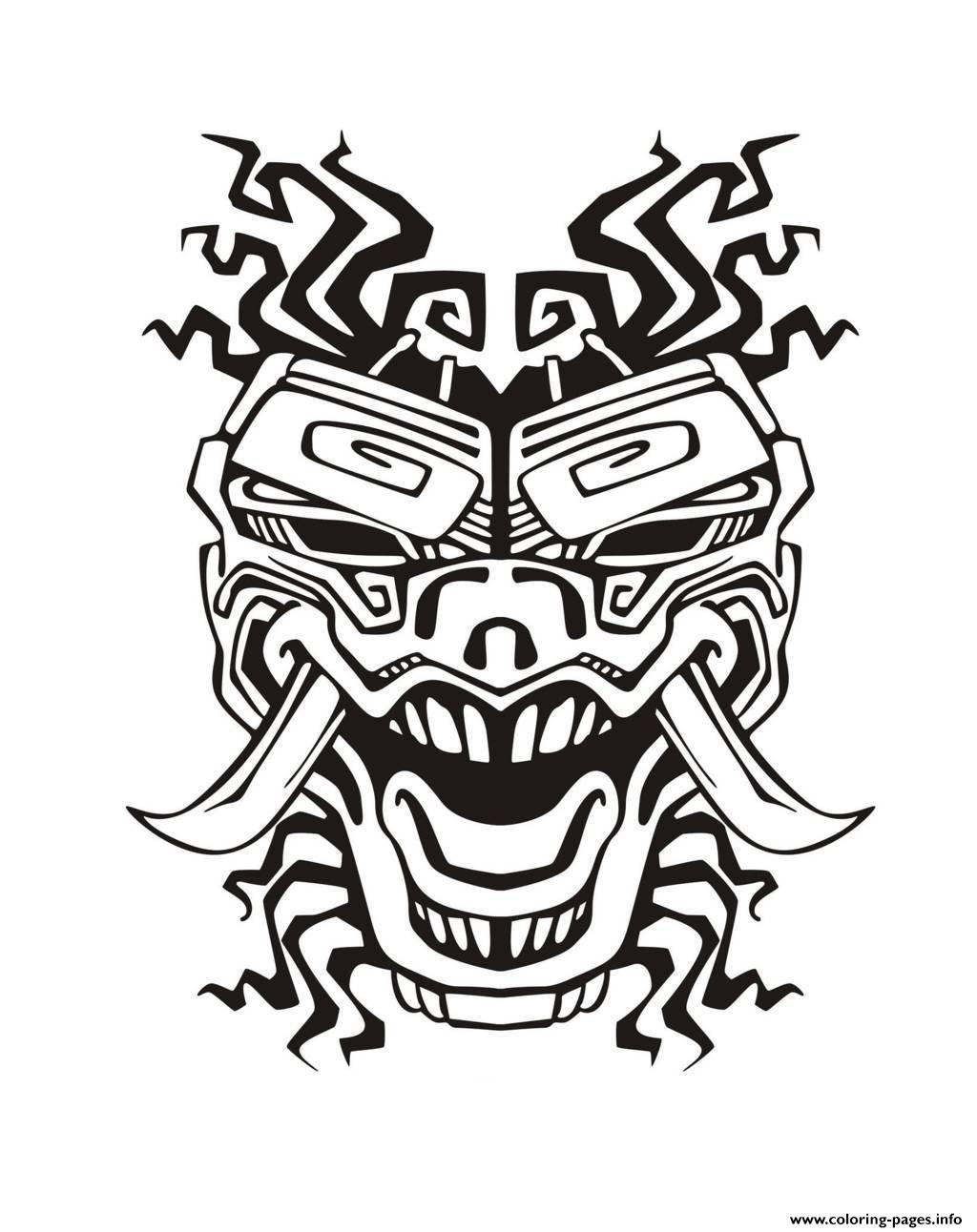 Adult Mask Inspiration Inca Mayan Aztec 2 Coloring Pages Printable
