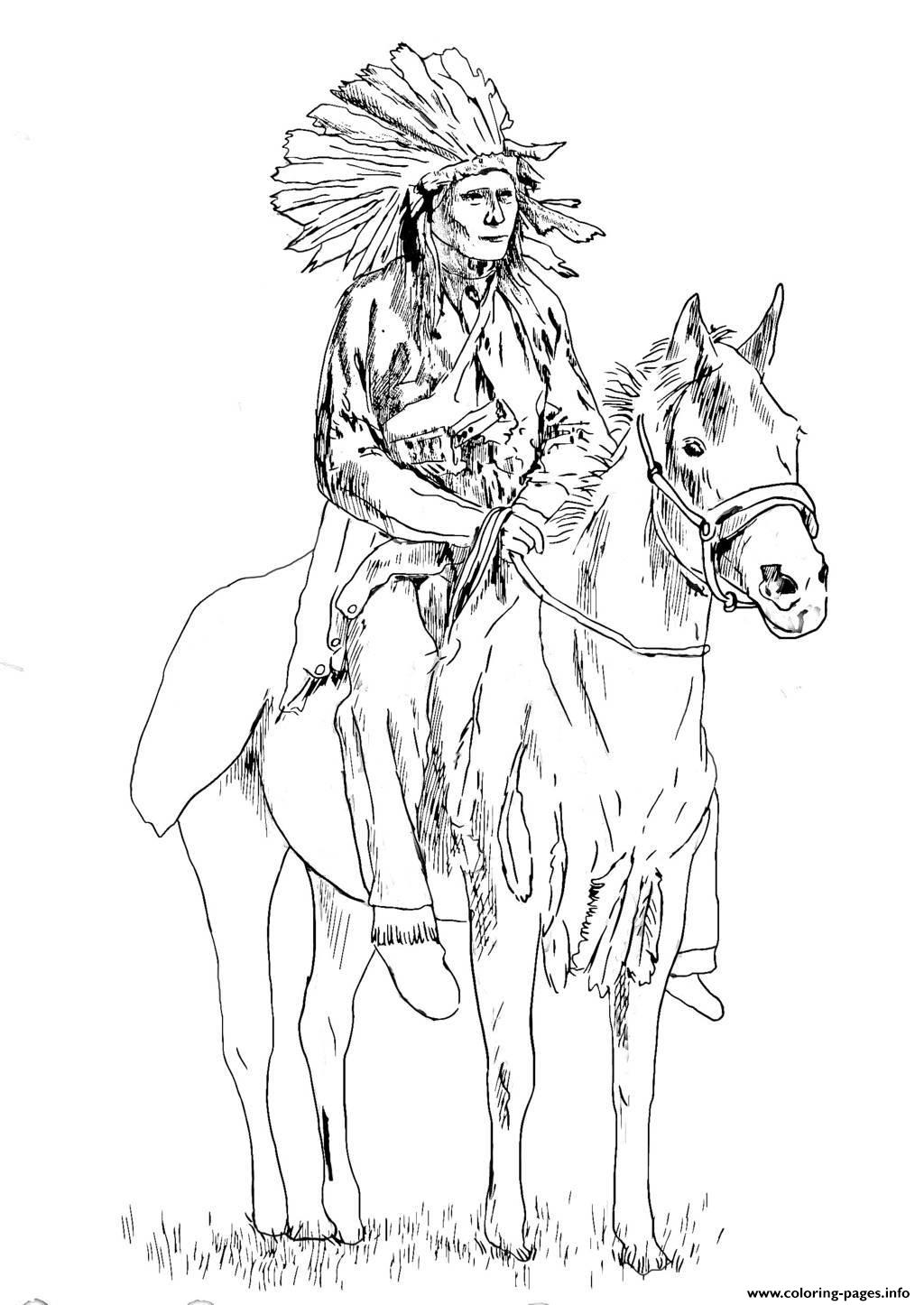 native american on his horse coloring pages printable