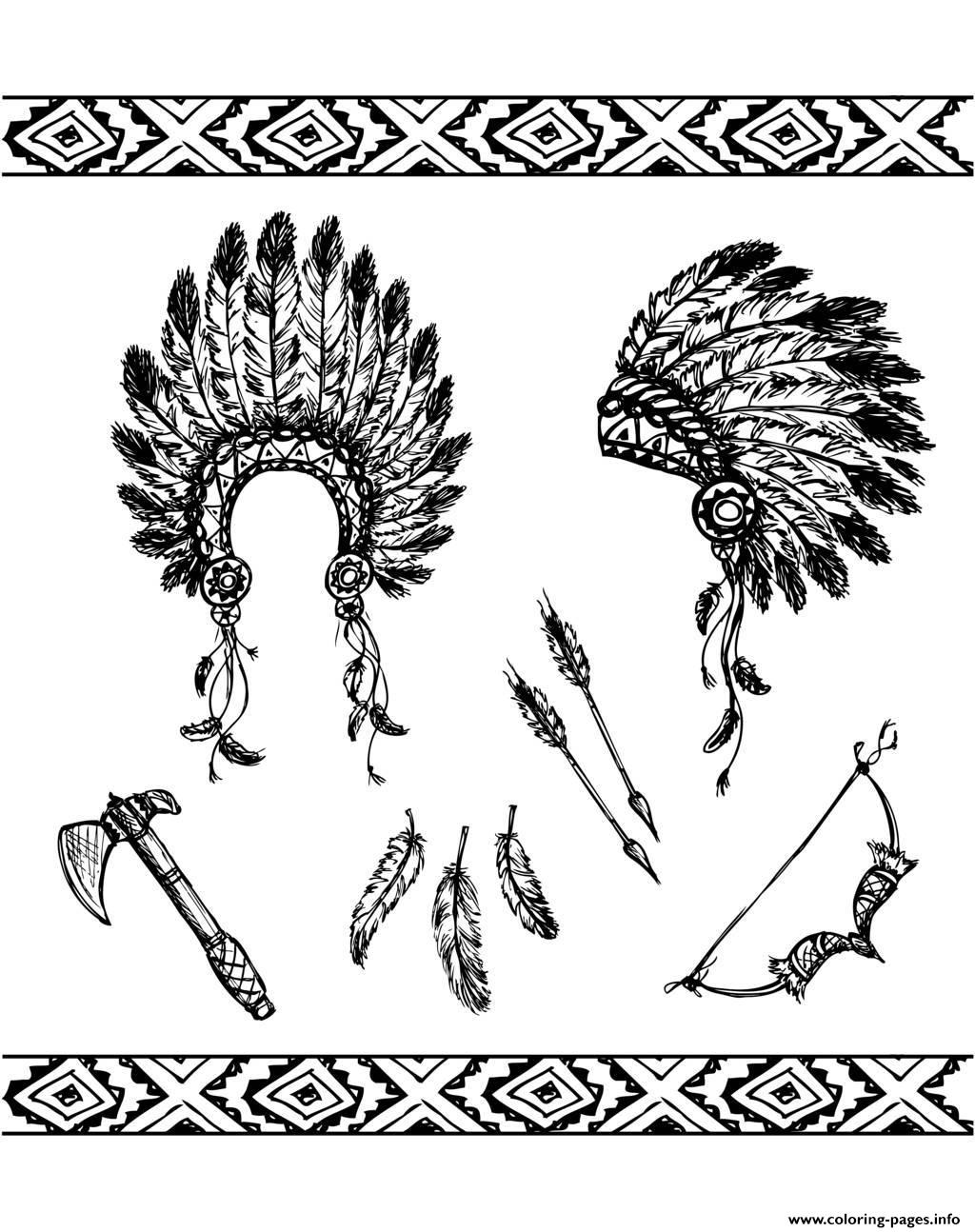 Adult Native American Symbols coloring pages