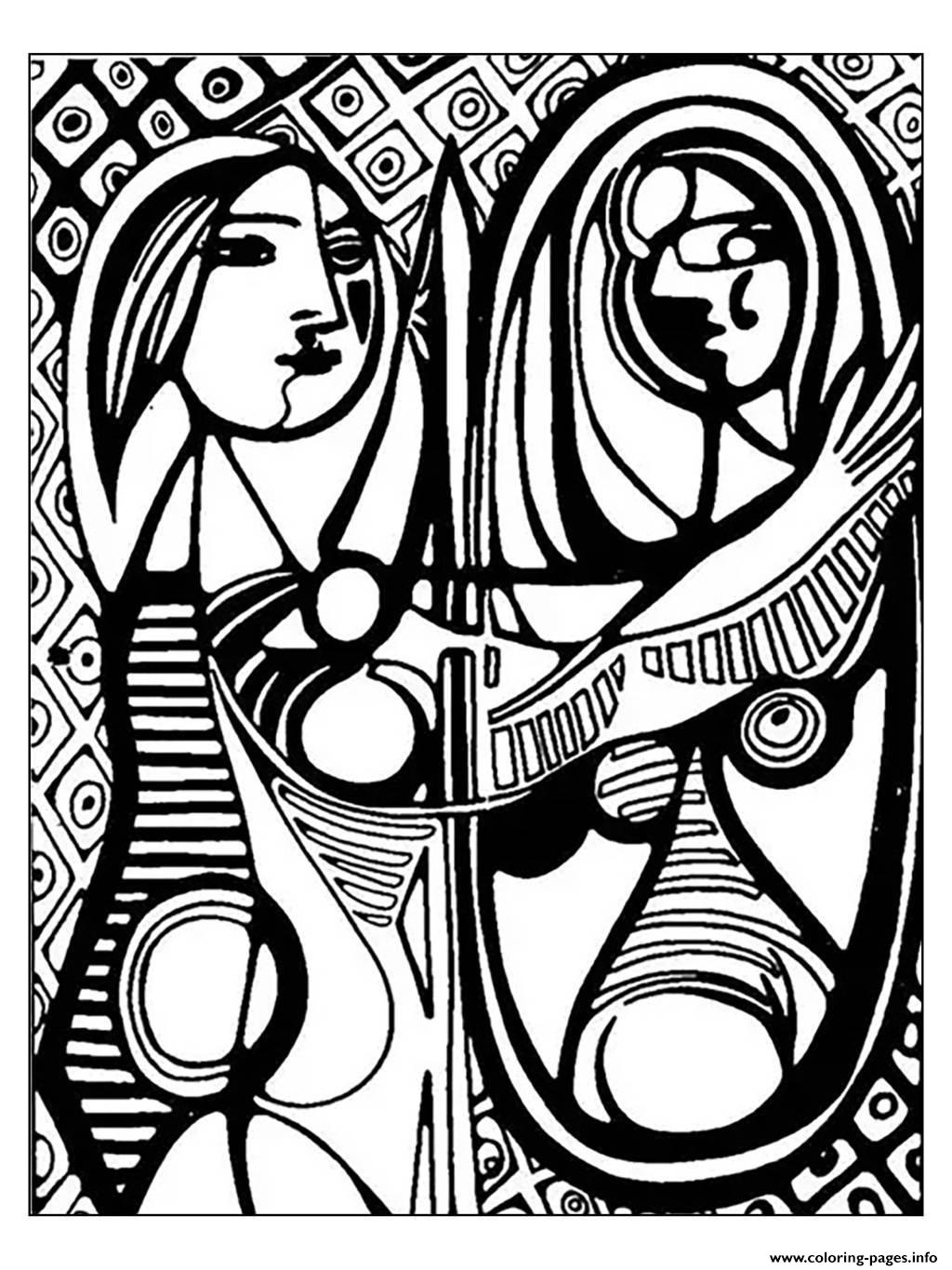 Adult Picasso Girl Before A Mirror 1932 coloring pages
