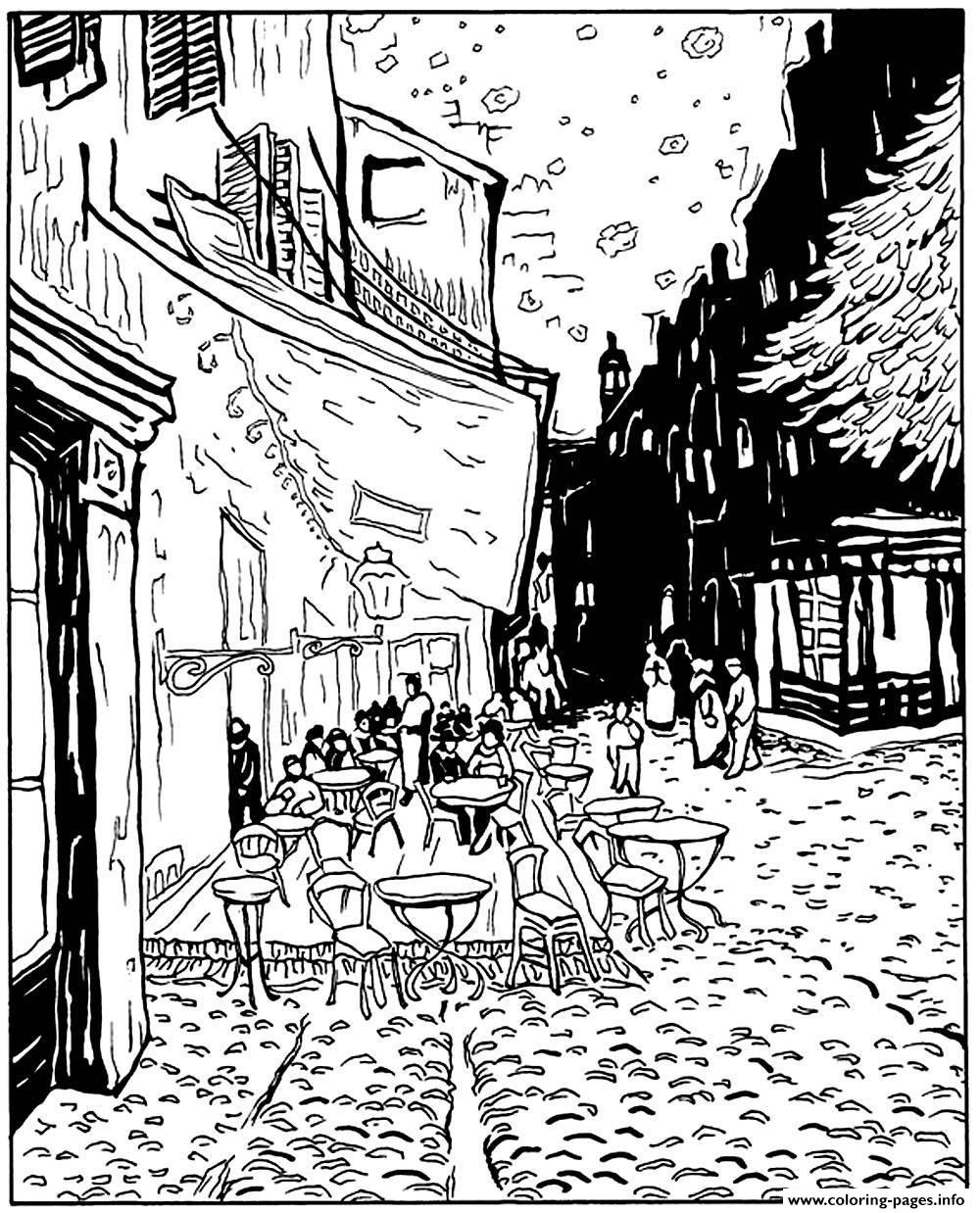 Adult Van Gogh Le Cafe De Nuit Coloring Pages Printable