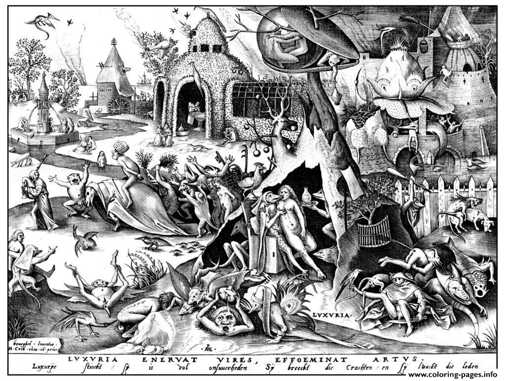 Adult Engraving Pieter Bruegel Luxuria coloring pages