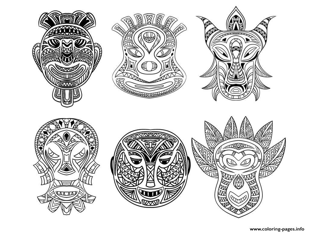 Adult 6 African Masks Coloring Pages Printable