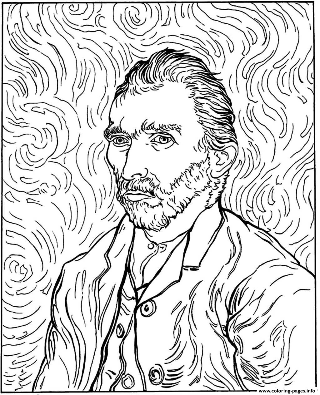 van gogh autoportrait coloring pages printable