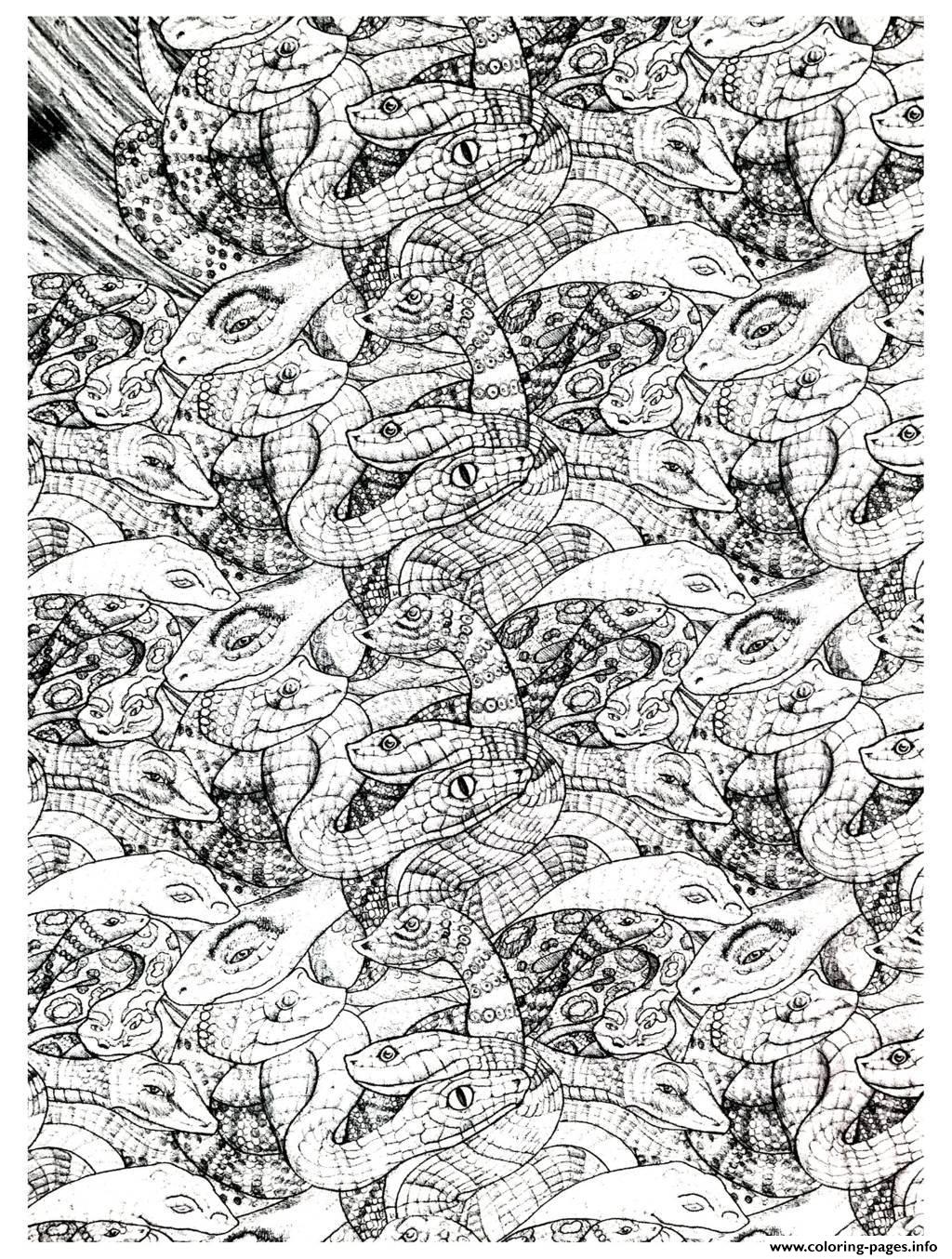 adults snakes complex 2 Coloring pages Printable