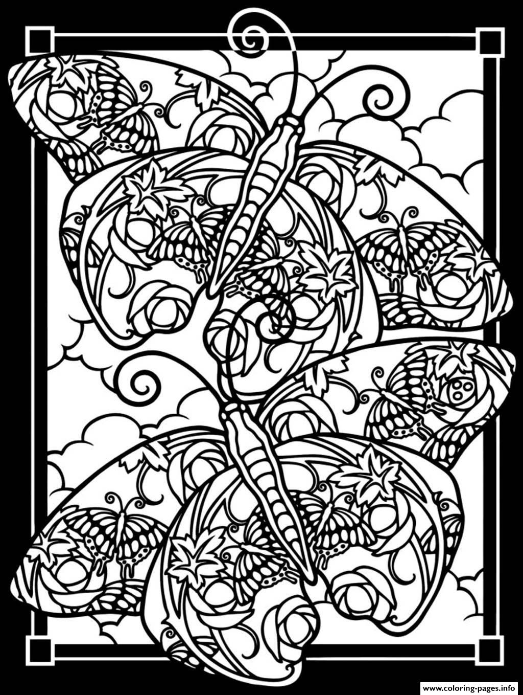 Adult Difficult Two Butterflies Black Background Coloring Pages